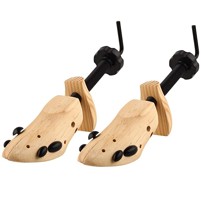 S & L Unisex profesional 2 Vías zapatos árbol Camilla tamaño 4 - 13, ajustable Longitud y anchura, madera Shaper Set de 2, Wooden yellow, M(6-7)-Women&Men: ...