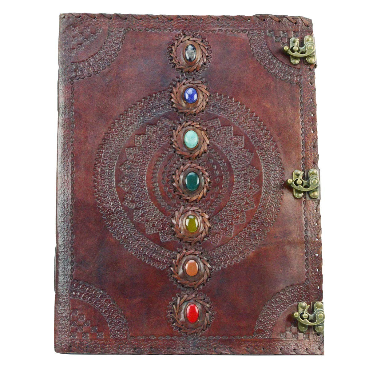 18'' Extra Large 7 Chakra Stone Wicca Book of Shadows Leather Journal by TG,LLC
