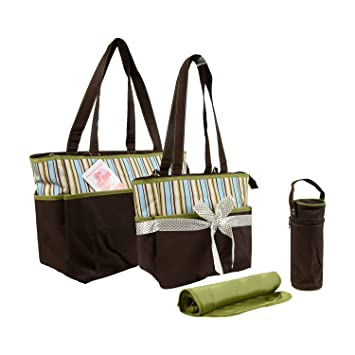 9b04f29b699c Baby Grow Colorland Amber Tote Changing Bag 5 Piece Set- Mum Mother Bag  (Brown/Green Strips)
