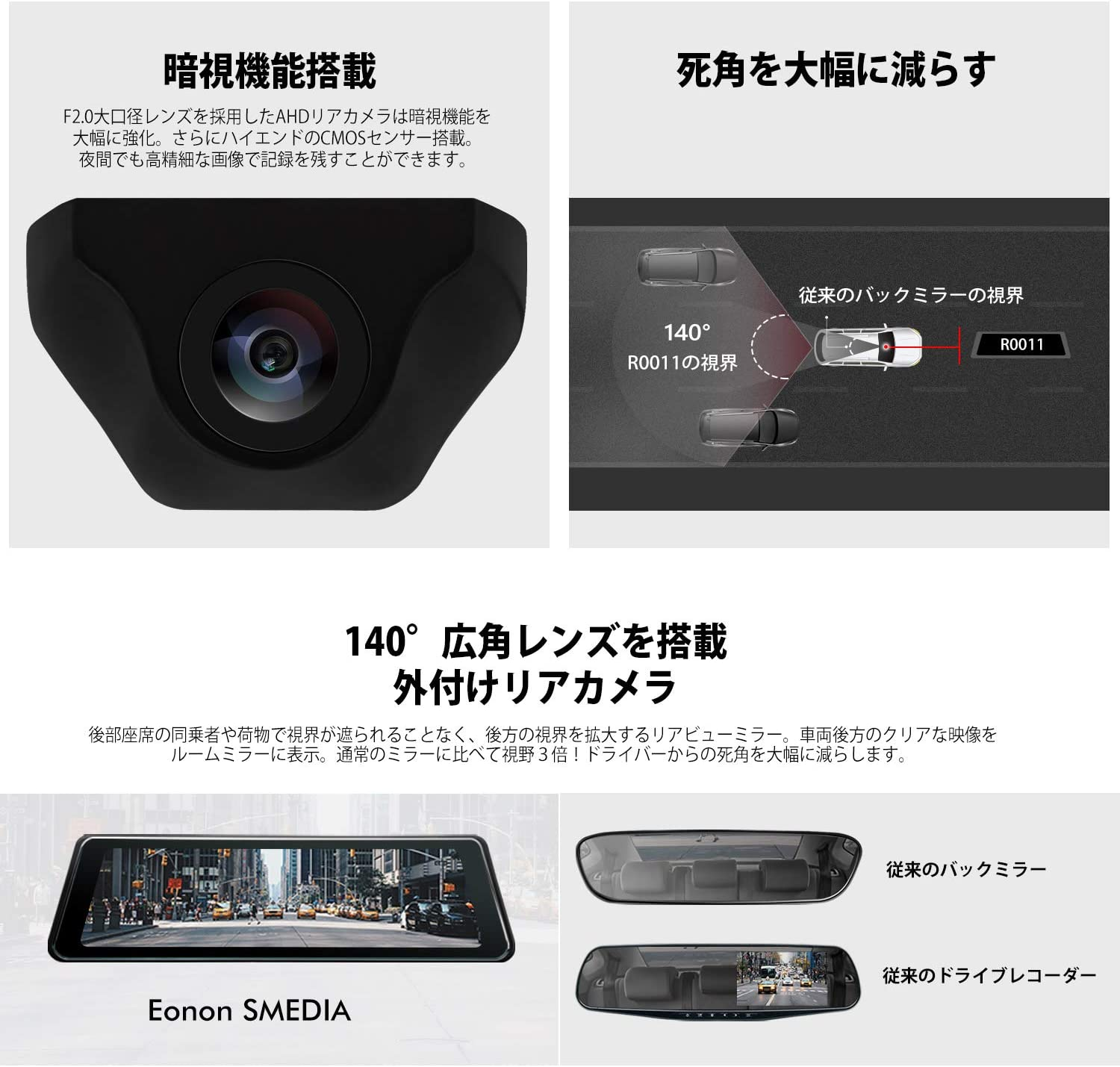 Backup Camera R0011 9.88/'/' Dual Lens Touch Rear Mirror Dash Cam Video Recorder