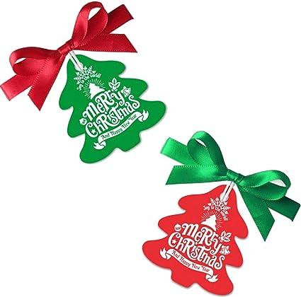 Makhry 100 Pack Etiquetas de Regalo de Navidad Etiquetas de Santa de Papel Kraft con Cinta para Envolver Regalos de Navidad/Adorno de Árbol de Navidad/Decoraciones(Rojo&Verde): Amazon.es: Oficina y papelería
