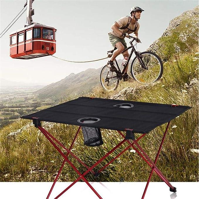 WYZQWYF Mesa Portátil para Acampar con Mesa de Tela Oxford, Mesa Plegable en una Bolsa para Picnic, Campamento, Playa, con Fácil de Limpiar con 2 ...