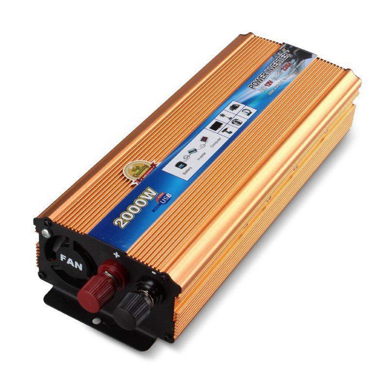 4000 W De Pico Onda Sinusoidal del Power Inverter DC 12 V convertidor con Puerto USB: Amazon.es: Electrónica