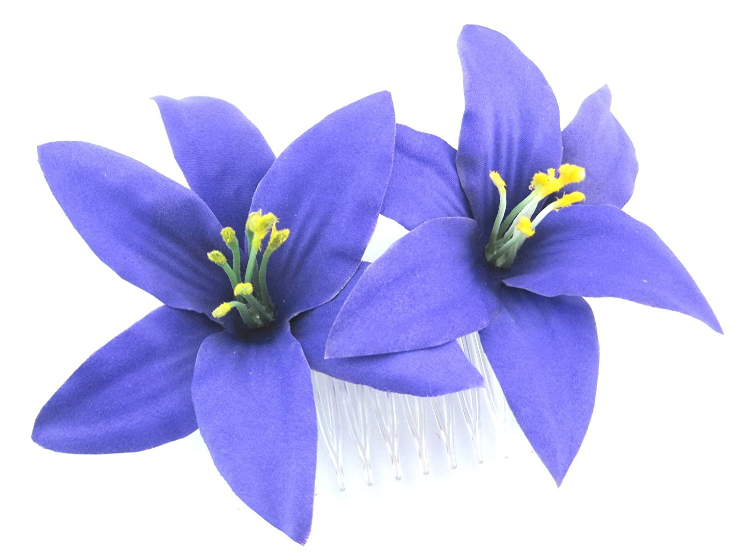 Amazon double 35 purple lily silk flower hair comb clothing izmirmasajfo