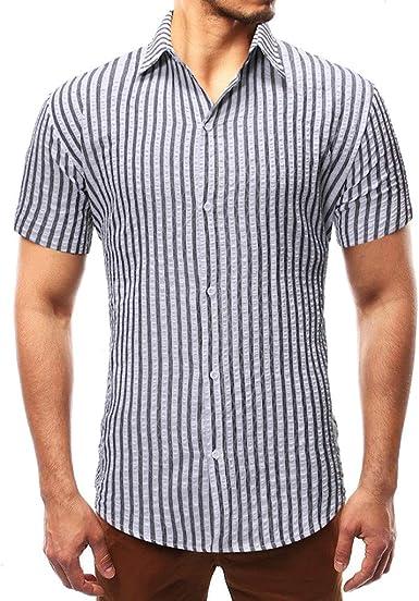 Viahwyt Camisa de manga corta para hombre, estilo informal, con botones, a rayas, para vestir, blusa Negro Negro (M: Amazon.es: Ropa y accesorios