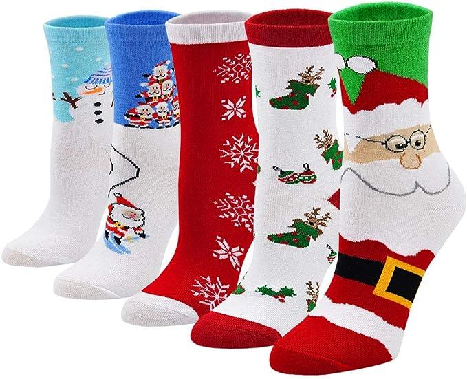 Calcetines de Navidad Mujer Calcetines de Algodón, Calcetines Termicos Mujer Calcetines de Animales Lindos Divertidos, Regalo de Navidad para Mujer, 5 Pares: Amazon.es: Ropa y accesorios
