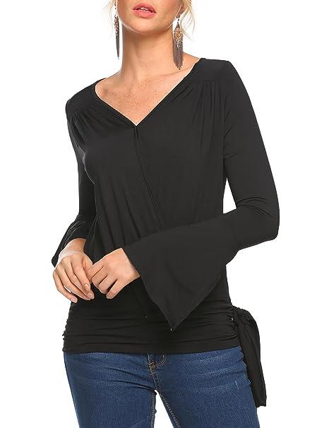 93eff8b345da91 Zeagoo V Neck Long Sleeve Blouses Tops Shirts for Juniors Teen Girls Laides  Women