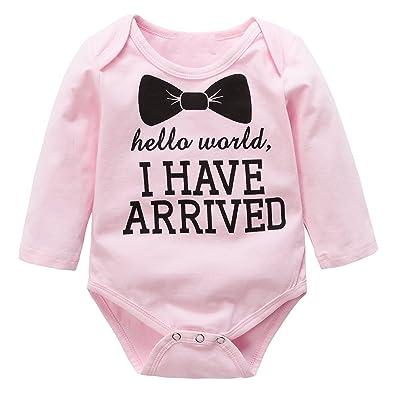 Moresave Coton à manches longues bébé barboteuse Bowknot Combinaison pour tout-petits One Piece Hauts Vêtements