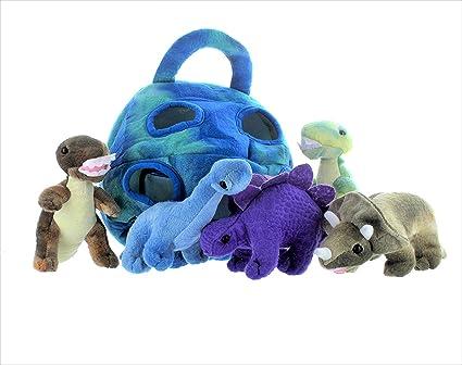 Amazon Com 5 Pack Dinosaur Plush Soft Stuffed Animal Playset With