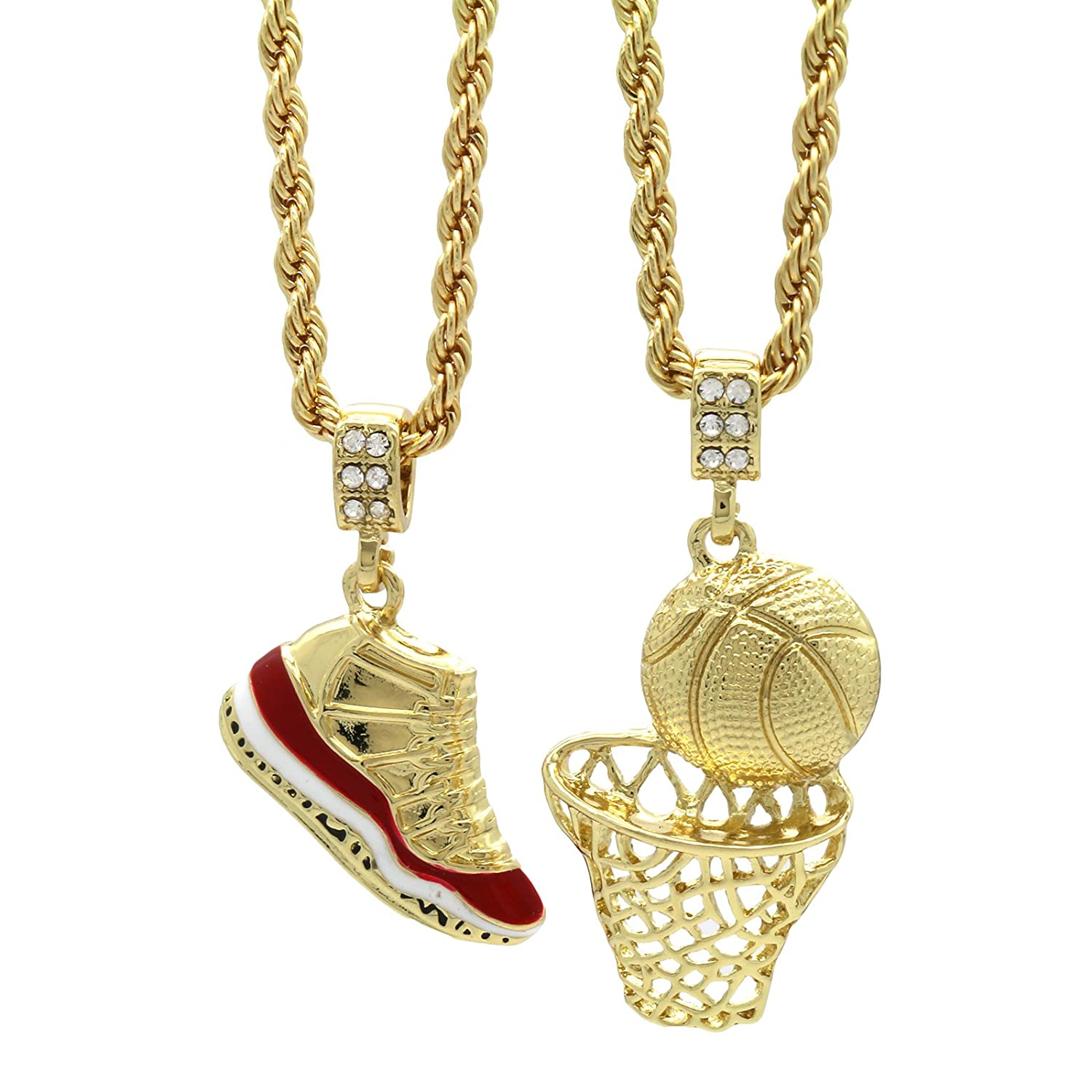 """Mens Gold Plated HipHop Retro 11 """"Cherry"""" & Plain Basketball Pendant 4mm 24"""" Rope Chain"""