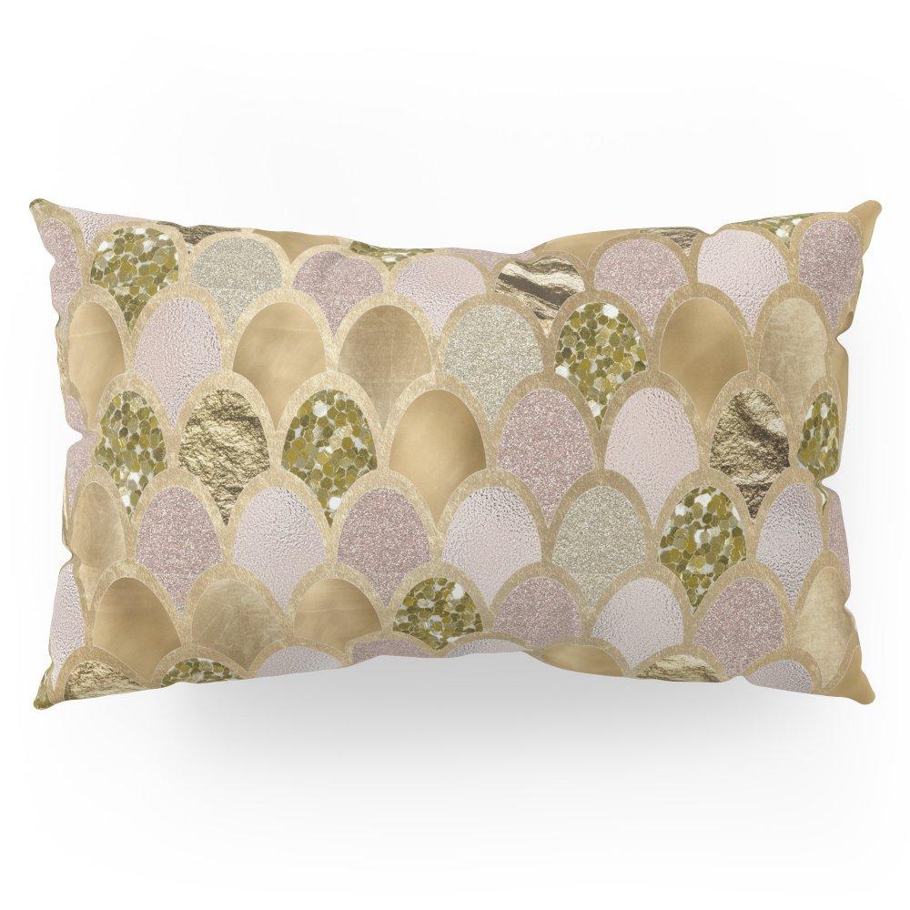 Society6 Rose Gold Glittering Mermaid Scales Pillow Sham King (20'' x 36'') Set of 2