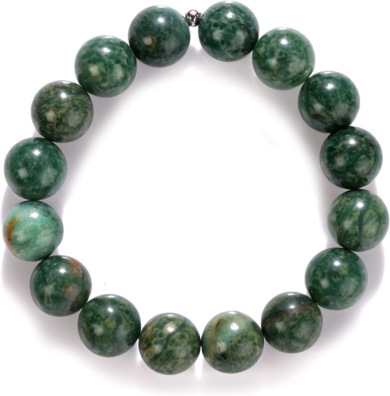 Pulsera de cuentas de jade africano auténtico, pulsera de cuentas de jade africano, joyería de piedras preciosas de jade, pulsera elástica con piedras de jade