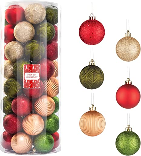 Amazon Com Every Day Is Christmas 50ct 57mm 2 24 Christmas Ornaments Shatterproof Christmas Tree Ornaments Set Christmas Balls Decoration Garden Country Woodland Kitchen Dining