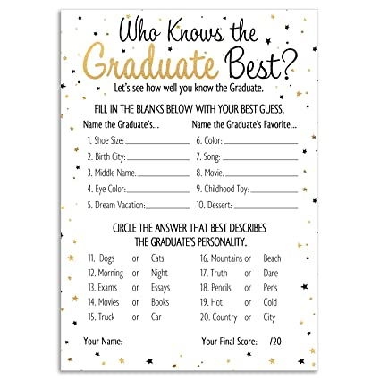 image about Free Printable Graduation Party Games identified as DISTINCTIVS Who Is aware of Grad Easiest - Commencement Get together Video game Playing cards (25 Depend)