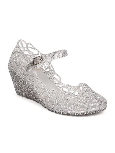 7b1b7bc21a39 Wild Diva Women Glitter Jelly Perforated Mary Jane Wedge Heel GD78 - Clear  (Size