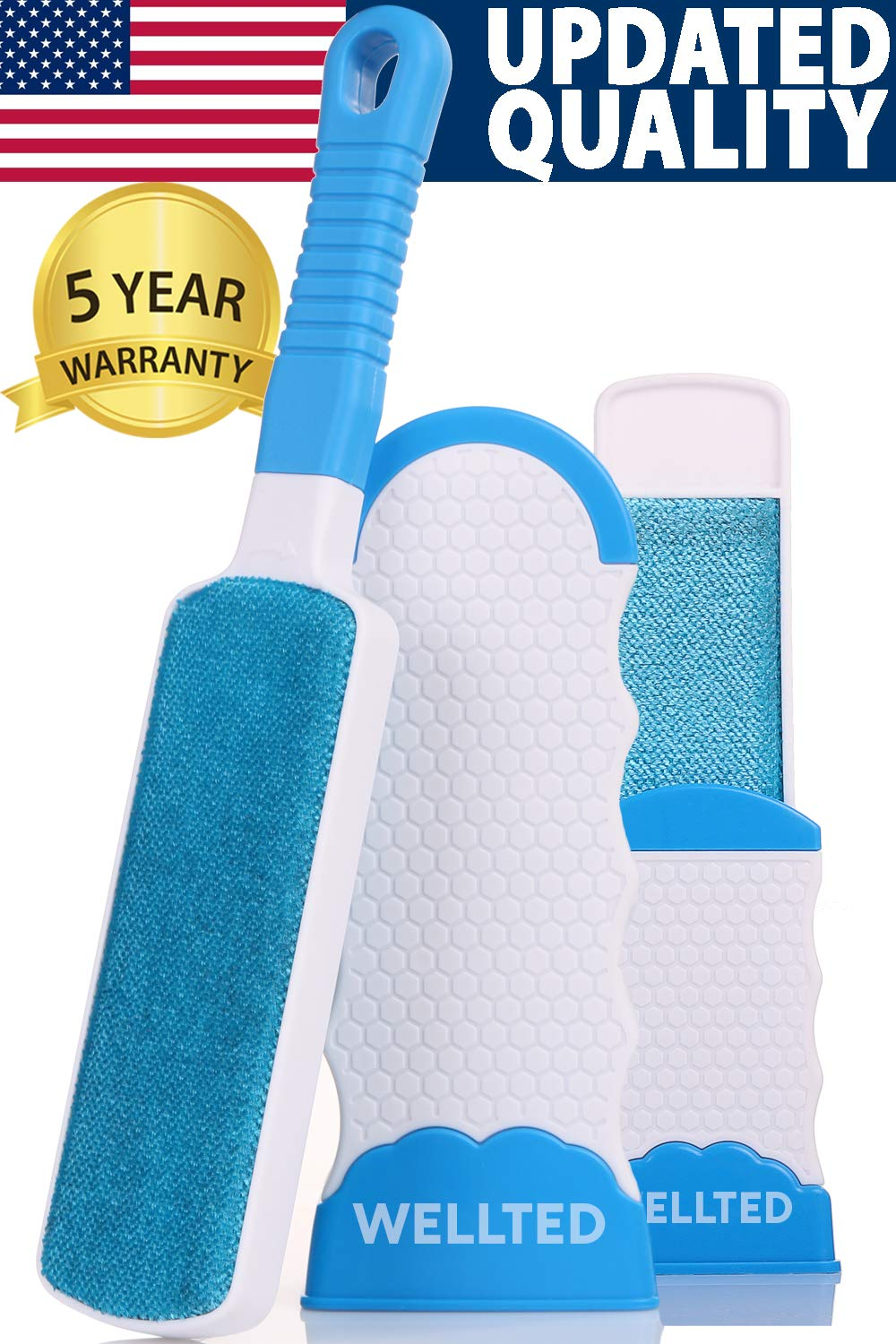 WELLTED Pet Hair Remover Brush - Lint Brush - Fur Remover - Fur & Lint Removal - Dog & Cat Hair Remover - Double-Sided Brush with Self-Cleaning Base - for Furniture Clothing Car Seat by WELLTED