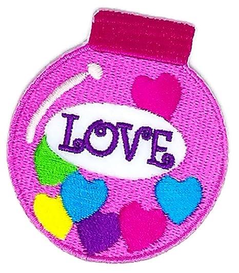 2.0 pulgadas x 2,25 pulgadas Cute Candy Love corazón Sew hierro en bordados Applique