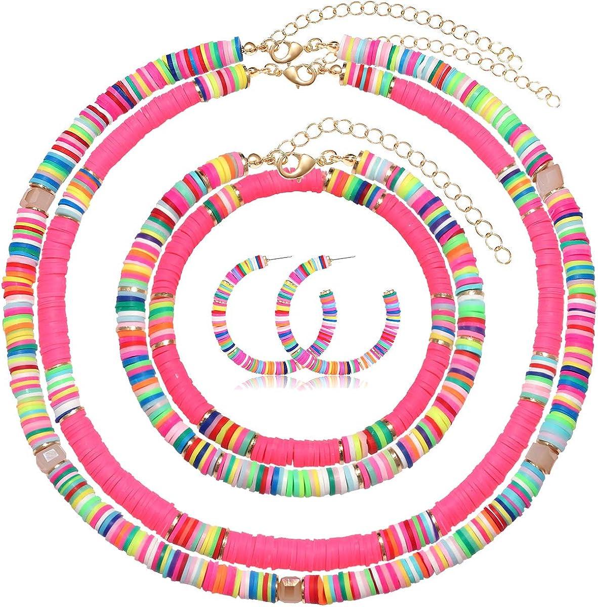 PHALIN Heishi Surfer Choker Necklace Hoop Earrings Rainbow Bead Anklets Stretch Bracelet for Women Multicolored Vinyl Disc Bead Necklaces Circle Earrings Summer Beach Ankle Bracelet Jewelry Set