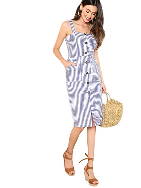 1b56b5e785 Floerns Women's Sleeveless Button up Pinstripe Pencil Dress Knee Length at Amazon  Women's Clothing store: