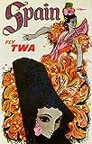TWA - Spain Vintage Poster (artist: David Klein) c. 1955 (9x12 Art Print, Wall Decor Travel Poster)