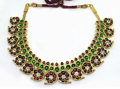 cbb21667ffa Buy Margam Original Silver Temple Imitation Bharatanatyam Jewellery Kemp  Stone Pearl Mango Necklace Online at Low Prices in India