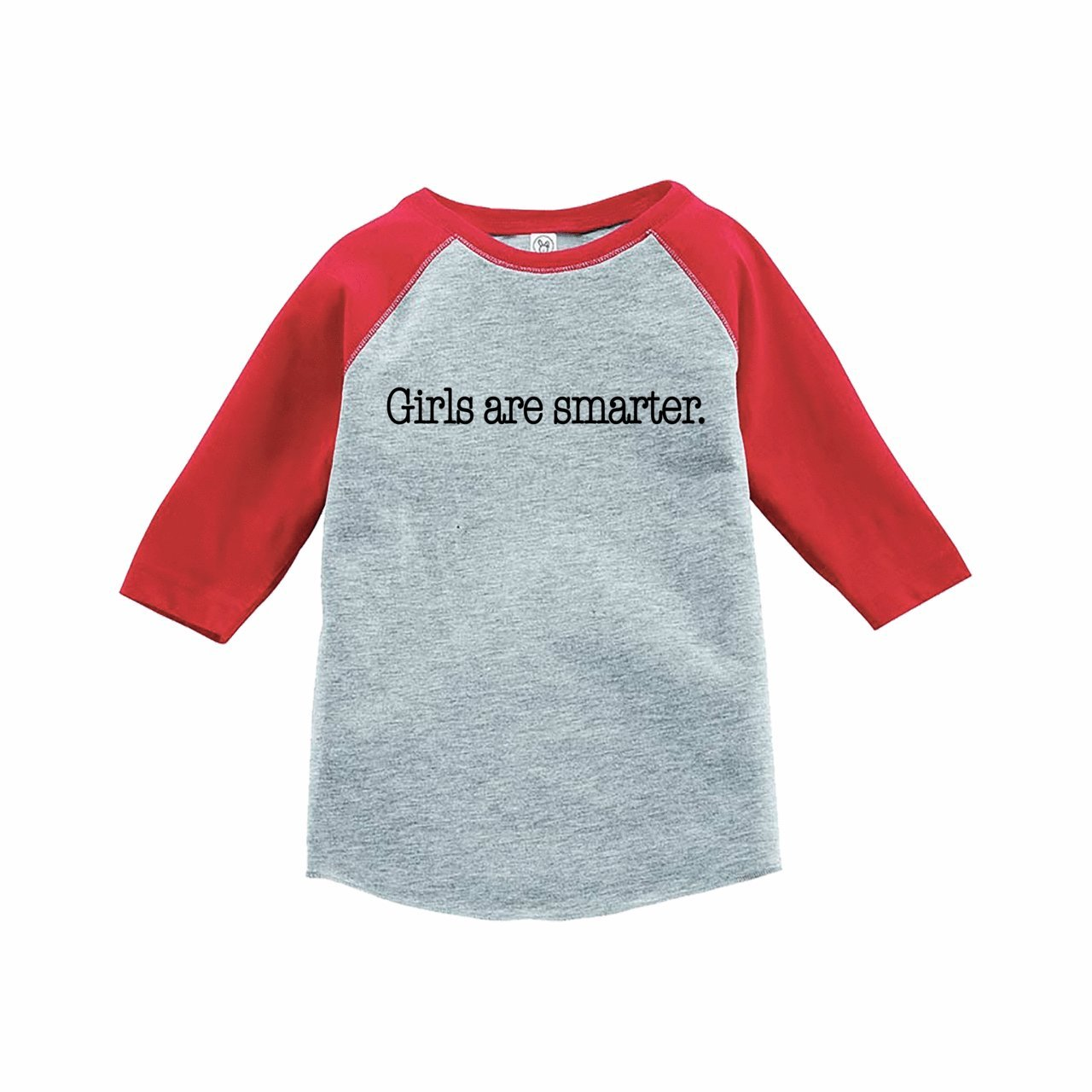 7 ate 9 Apparel Funny Kids Girls are Smarter Baseball Tee Red