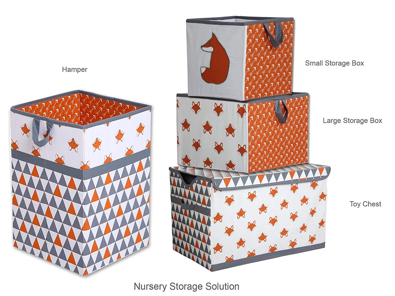 Bacati – Playful Foxs Orange Grey Hamper Collapsible