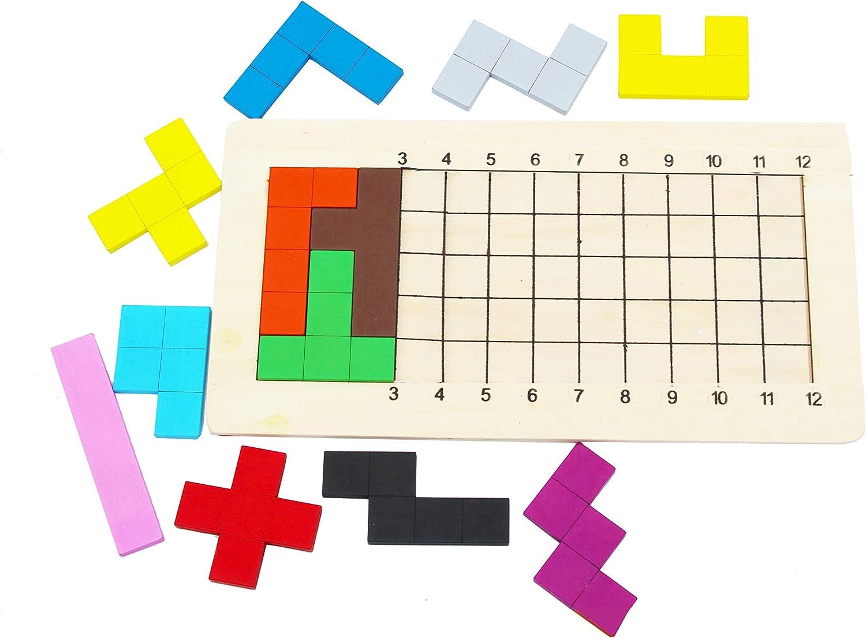 Wooden Pentominoes Tangram Puzzle Game geometry board game