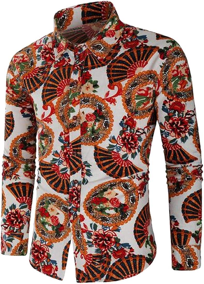 XiaoTianXinMen XTX Men Floral Print Cotton Linen Long Sleeve Button Down Dress Shirts