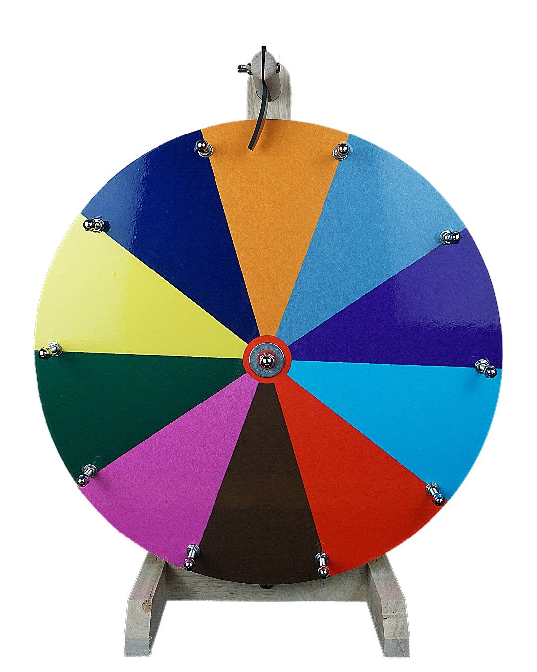 16'' Tabletop Color Dry Erase Prize Wheel, Spinning Board w/ 10 Slots and Wood Stand