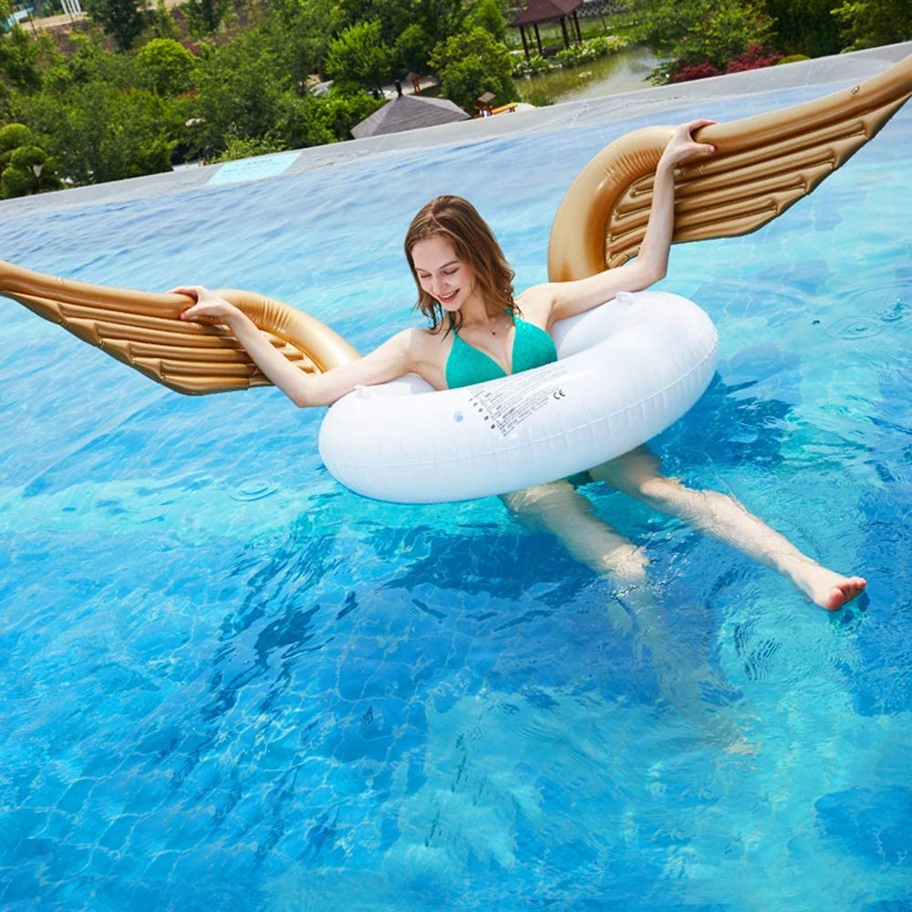 L.J.JZDY Colchones de Aire Alas de ángel Anillo de natación Ángel Dorado Inflable Adulto Fila Flotante Piscina Reclinable Flotador Salvavidas Flotador Fila Flotante