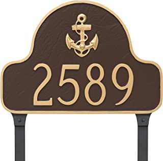 "product image for Montague Metal PCS-0081S1-L-CG Anchor Arch Address Sign Plaque with Lawn Stake, 11"" x 16"", Chocolate/Gold"