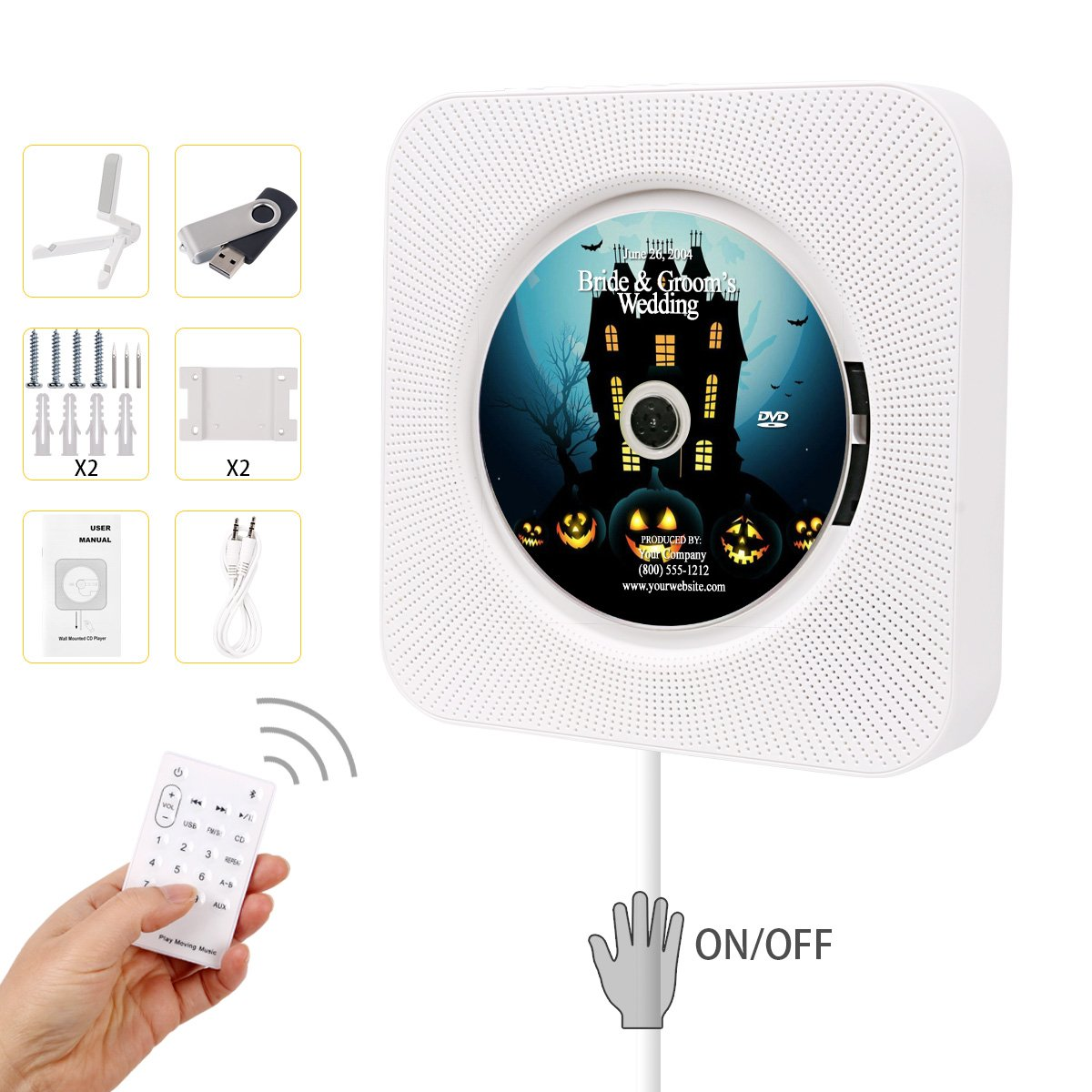 Beatife Bluetooth CD Player, Upgraded Wall Mounted Multipurpose Player HiFi Speaker Full-band FM Radio with Remote Control USB Drive AUX in & 3.5mm Headphone Jack Support A-B Repeat with 16G U-Disk