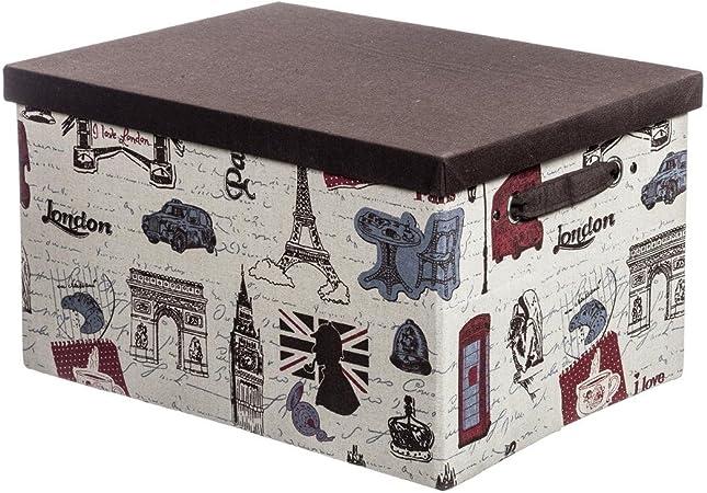 real,- QUALITY – Caja con Tapa, Aprox. 30 x 40 x 23 cm, diseño London/Paris | Beige/Marrón | Plegable | Ahorra Espacio | Deko Caja | Caja Plegable, Cesta, Caja para Ropa: Amazon.es: Hogar