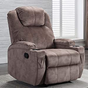 CANMOV Recliner Chair with 2 Cup Holders, Manual Ergonomic Recliner Sofa Chair for Living Room Chair Home Theater, Camel
