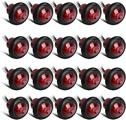 """50PCS 3//4/"""" Marker Lights Triple Diode LED Truck Trailer Clearance Indicator Red"""