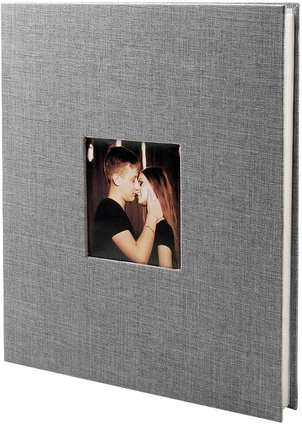 VEESUN /Álbum de Fotos Regalos de Cumplea/ños 28 x 27 cm 40 P/áginas Blancas Album de Pareja con Compartimento para Insertar Foto 20 Hojas Boda Gris para Pegar Fotos