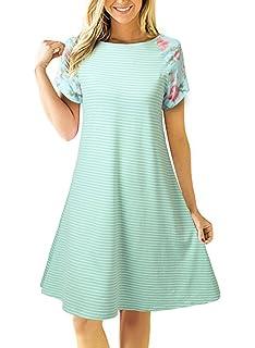 afaa48b6f08c Uideazone Women Striped Floral Short Sleeve T-Shirt Dress Loose A-Line  Dress Knee