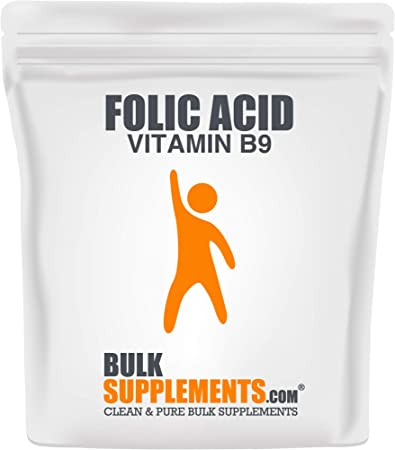 BulkSupplements.com Folic Acid (Vitamin B9) Powder - Folate Supplement - Folic Acid 800mcg (50 Grams)