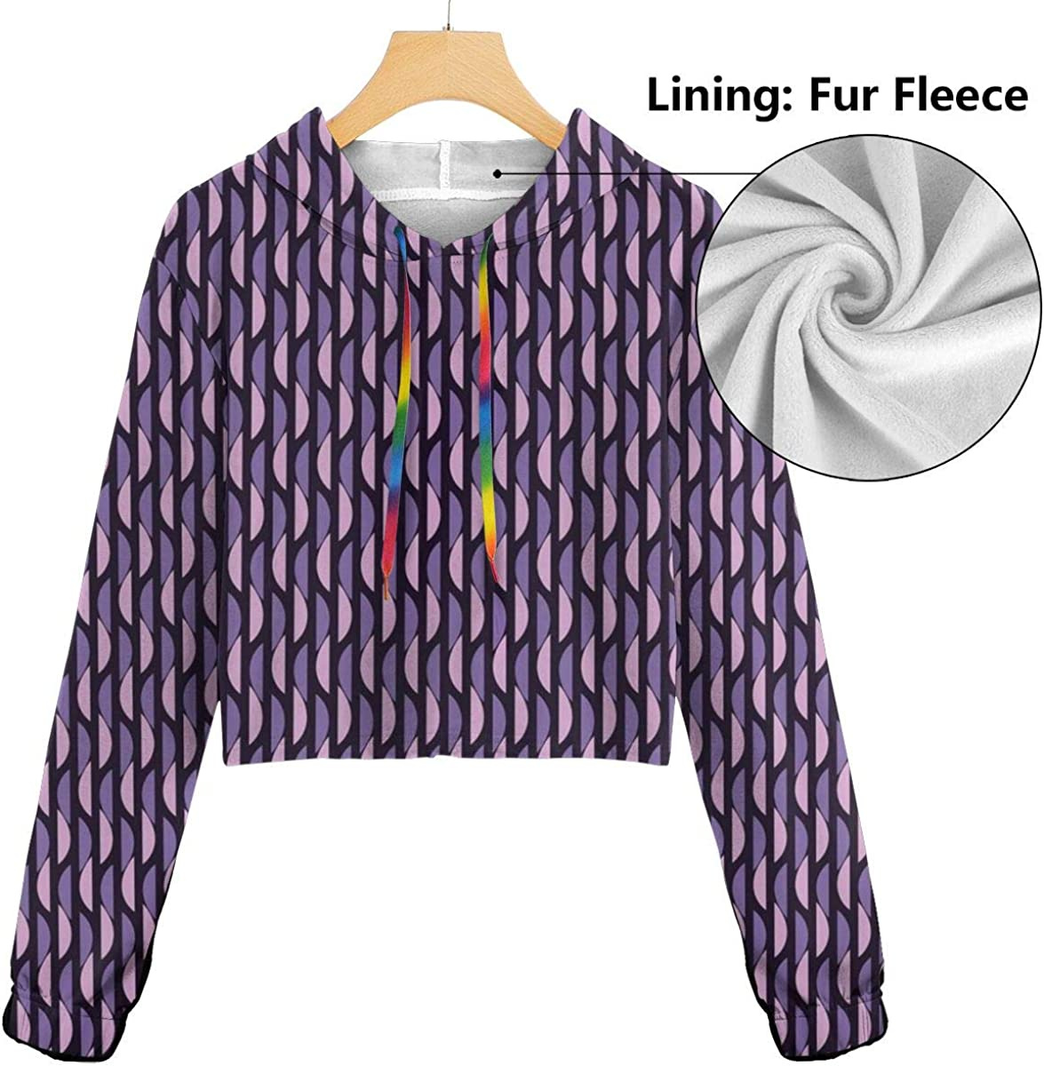 GULTMEE Womens Cropped Hoodie,Abstract Stripes with Half Circle Pattern Vivid Artistic Illustration,S-XL