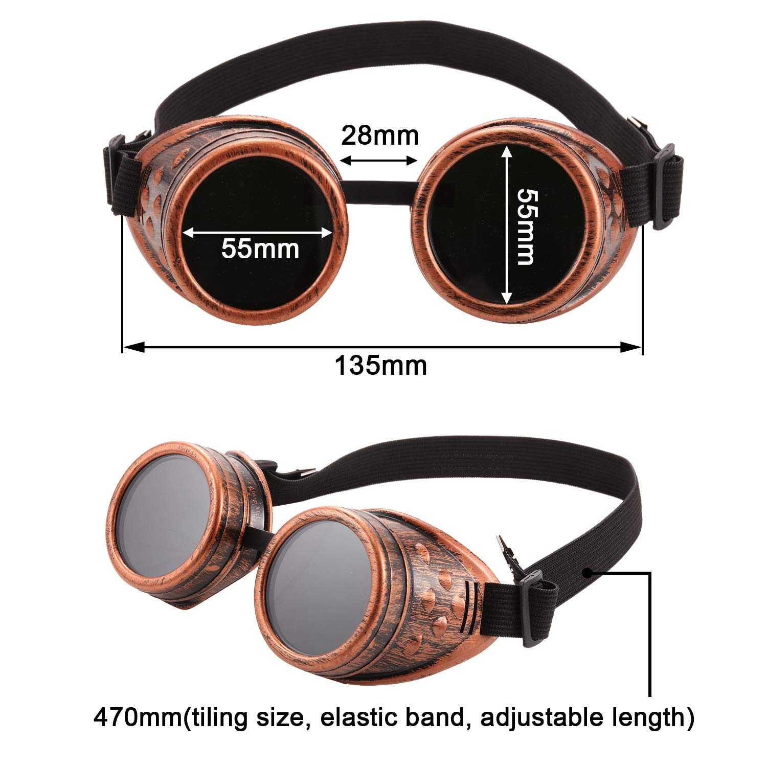 6 Pieces Vintage Victorian Steampunk Goggles Glasses Welding Cyberpunk Sunglasses for Gothic Cosplay Costume Accessories Color Set 1