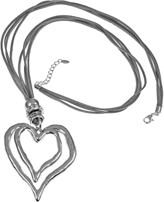 Lagenlook silver double large heart style pendant 96 cm long curb chain necklace