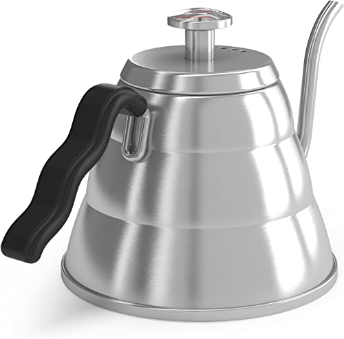 Gooseneck Kettle - Coffee Gator Pour Over Kettle - Precision-Flow Spout and Thermometer - Barista-Standard Hand Drip Tea and Coffee Kettle