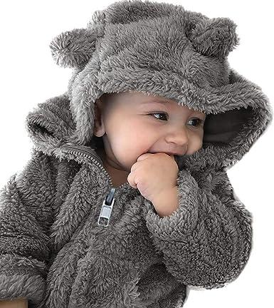 QGhead Toddler Baby Boys Girls Fuzzy Fleece Coat Winter Warm Bear Ear Hooded Sweatshirt Outwear Clothes