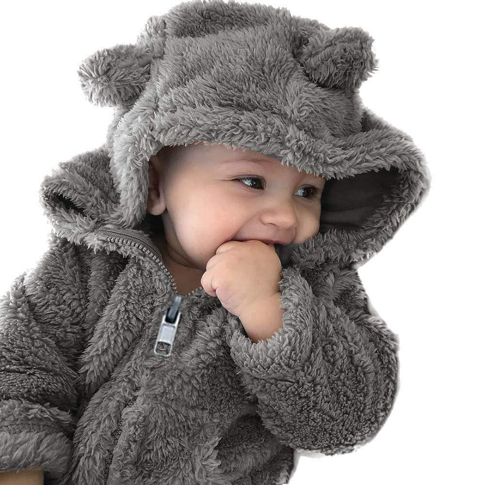 Bekleidung Baby Mantel Kleinkind Mädchen Junge Plüsch Winterjacke Kinderjacken Fell Warm Winter Coat Mantel Jacke Dicke Warm Kleidung Hoodie mit Ohr Reißverschluss (0-24Monate)