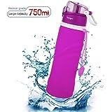 Tabiger Acqua Bottiglia Pieghevole -750ml,per Uso Medico priva di BPA Approvata Dalla FDA, Portatile Silicone Pieghevole Leak-Proof Ideale per lo Sport, Attività all'Aperto, Viaggio, Campeggio, Picnic 3Colori (B-Viola)