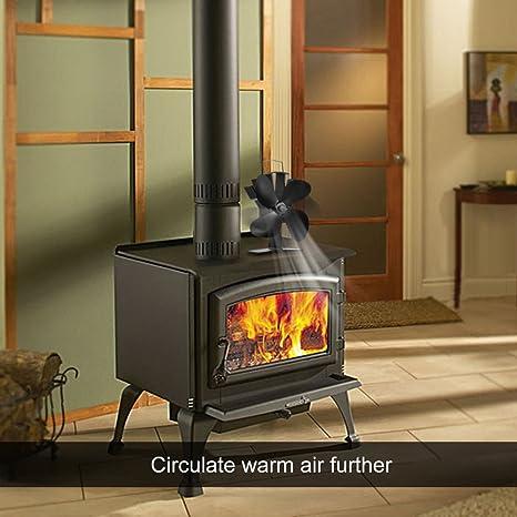 4 hojas ventilador de estufa calor De Corriente Ecofan de ventilador estufa de leña estufa de madera Top ventiladores Log quemador chimenea: Amazon.es: ...