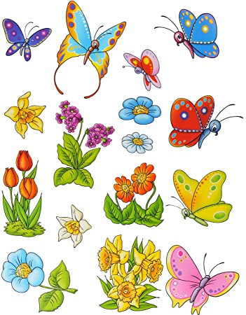 Unbekannt 16 Tlg Set Fensterbilder Schmetterlinge Blumen
