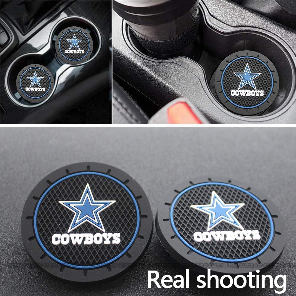 Interesting car 2Pcs Durable Non-Slip Silicone Dallas Cowboys Logo Cup mat Cowboys Coaster pad(Diam 2.81 Inch)