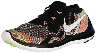 Nike Free 3.0 Flyknit Men Round Toe Running Shoe-Black/Sail/Hyper Orange
